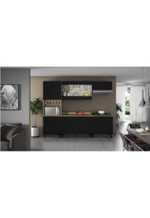 Cozinha Completa 5 Peças 11 Portas, 2 De Vidro Com Paneleiro E Tampo Para Cooktop Itamaxi Itatiaia Preto/Amadeirado