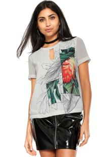 Camiseta Forum Choker Floral Branca