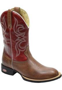 Bota Texana Masculina Country Bico Redondo Escrete Em Couro - Masculino-Vermelho