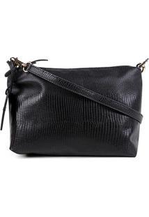 Bolsa Couro Shoestock Mini Bag Lezard Transversal Média Feminina - Feminino-Preto