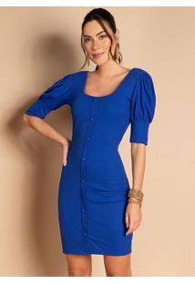 Vestido Azul Com Mangas Bufantes E Botões