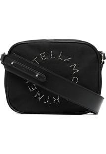 Stella Mccartney Camera Bag De Couro Com Logo - Preto