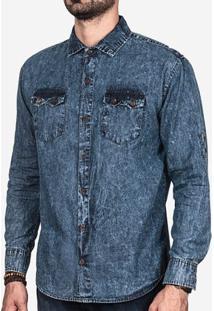 Camisa Jeans Manchada 200037