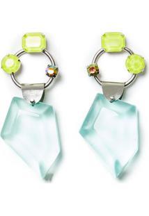 Brinco De Resina Com Neon Transparente - U