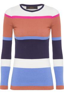 0d3e22b819 ... Blusa Feminina Canelada Listra Color - Azul