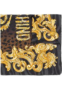 Moschino Lenço Com Estampa Barroca E Logo - Preto