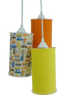 Lustre Pendente Triplo Crie Casa Amarelo Laranja Carrinhos