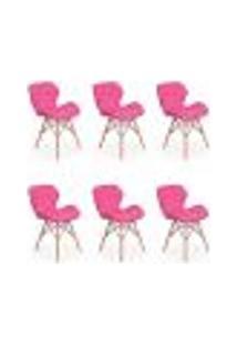 Kit 06 Cadeiras Charles Eames Eiffel Slim Wood Estofada - Rosa