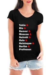 Blusa T-Shirt Camiseta Criativa Urbana Seriado Nomes - Feminino-Preto