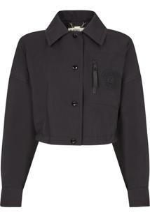 Fendi Cropped Logo Patch Jacket - Preto
