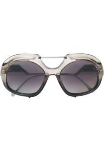 28cad7381ba00 ... Fendi Eyewear Óculos De Sol Oversized Degradê - Preto
