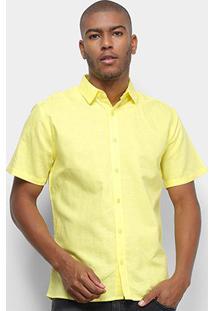 Camisa Colcci Classic Linho Masculina - Masculino-Amarelo