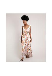 Vestido Feminino Longo Transpassado Estampado Floral Com Babado Alça Fina Off White