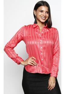 Camisa Acetinada Listrada- Coralvip Reserva