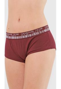 Calcinha Calvin Klein Underwear Boyshort Barcode Vinho