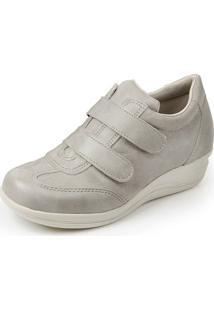 Sapato Conforto Pizaflex Confort Antistress Feminino - Feminino-Bege