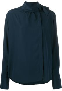 Fendi Blusa Com Lenço Na Gola - Azul