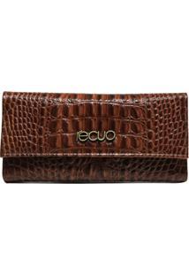 Carteira De Couro Recuo Fashion Bag Caramelo/Croco