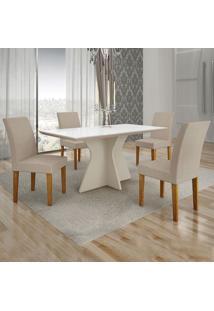 Conjunto De Mesa De Jantar Creta Iii Com 4 Cadeiras Olímpia Veludo Branco E Palha