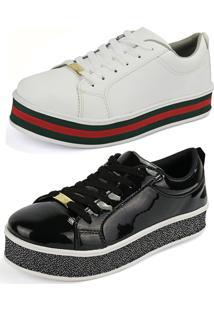Kit Sapatenis Confort Flatform Cr-Shoes Preto Verniz E Branco Vermelho