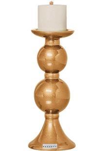 Castiçal P De Cerâmica 27Cm Dourado Mazzotti