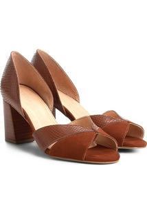 Peep Couro Toe Shoestock Salto Grosso Ondas Snake - Feminino