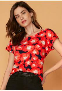 Blusa Vermelho Mullet Estampada Floral