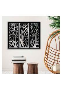 Quadro Com Espelho Árvore Seca Médio