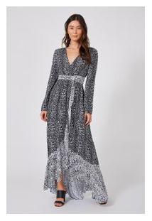 Vestido Longo Mix Leopard Mini Est Leopard Preto Mini