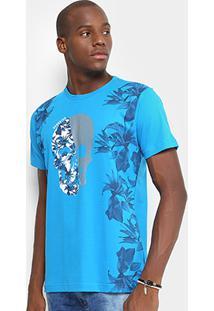 Camiseta Gangster Caveira Tropical Masculina - Masculino-Azul