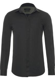 Camisa Masculina Logo - Preto
