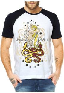 Camiseta Raglan Criativa Urbana Sereia E Serpentes Náutico - Masculino-Branco