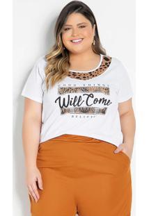 Blusa Branca Com Recorte Estampado Plus Size
