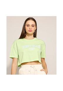 "Camiseta Cropped ""Venice Beach"" Manga Curta Decote Redondo Verde Claro"