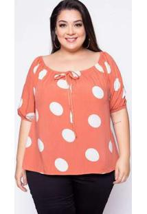 Blusa Plus Size Viscose Poá Coral Laranja