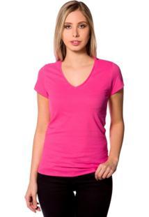 Camiseta Básica 4Me Gola V Rosa