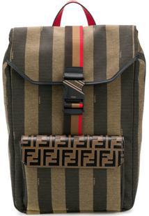 Fendi Stripe Logo Backpack - Verde
