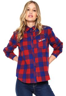 Camisa Facinelli By Mooncity Girl Boss Caramelo/Azul
