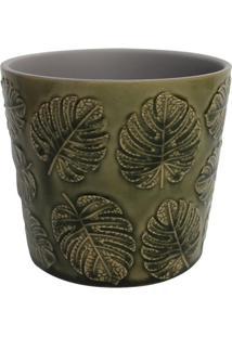 Cachepot Folhagens- Verde Escuro- 14Xã˜12,5Cm- Btbtc Decor