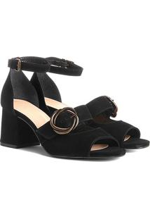 Sandália Couro Shoestock Salto Grosso Fivela Feminina - Feminino-Preto