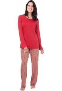 Pijama Longo Malha Homewear Vermelho - 589.0711 Marcyn Lingerie Pijamas Vermelho