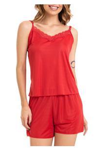 Short Doll Liganete Com Renda Lella (130) Vermelho