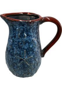 Jarra Decorativa Em Cerâmica Deep Sea- Azul & Vermelha