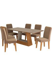 Conjunto De Mesa Com Mesa Com 6 Cadeiras Para Sala De Jantar 180X90 C/Moldura Alana/Milena-Cimol - Savana / Off White / Pluma