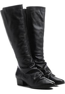 Bota Couro Shoestock Longa Enrugadinha Feminina - Feminino-Preto