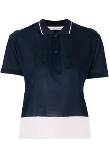Golden Goose Camisa Polo Cropped - Azul