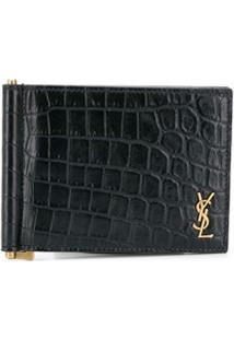 Saint Laurent Carteira Com Placa De Logo - Preto
