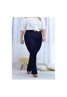 Calça Plus Size Flare Alleppo Jeans Tamara Azulão