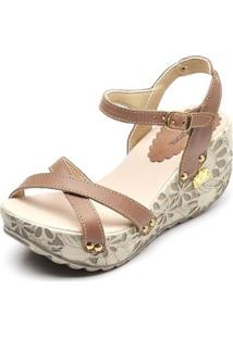 Sandália Betina Beker Top Franca Shoes Anabela Feminina - Feminino-Marrom