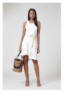 Vestido De Crepe Curto Recortes Branco Pérola
